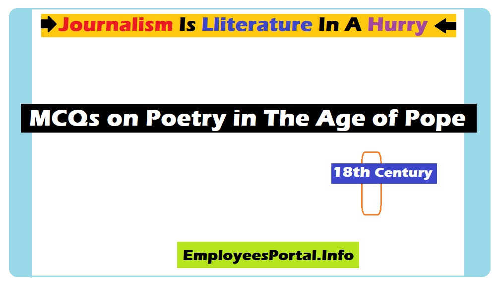 MCQs on Poetry in The Age of Pope